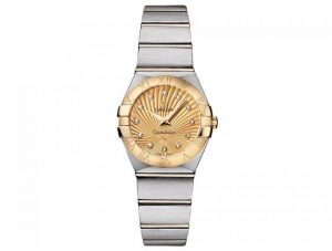 The champagne dials fake watches are decorated with diamonds.