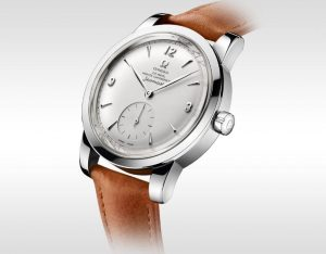 The stainless steel copy watches have brown leather straps.