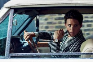 Eddie Redmayne wears the silvery dial fake Omega Constellation 130.53.39.21.02.001 watch.
