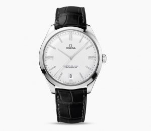 The 18k white gold fake watches have white dials.