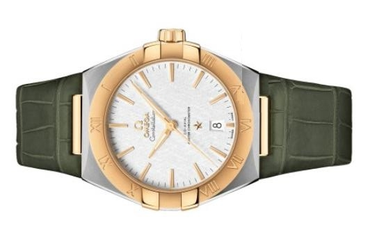 The male replica watches have olive green straps.