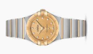 The champagne dials copy watches have diamond hour marks.