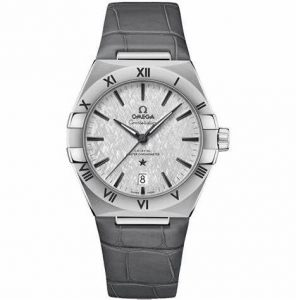 The stainless steel copy watches have grey straps.