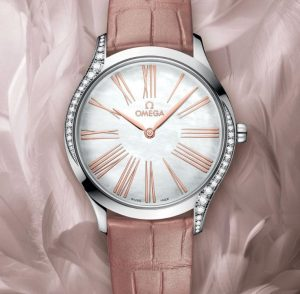 The pink strap copy watch has white dial.