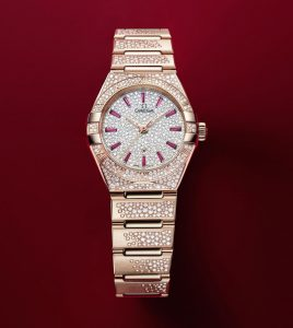 The female fake watch is decorated with diamonds.