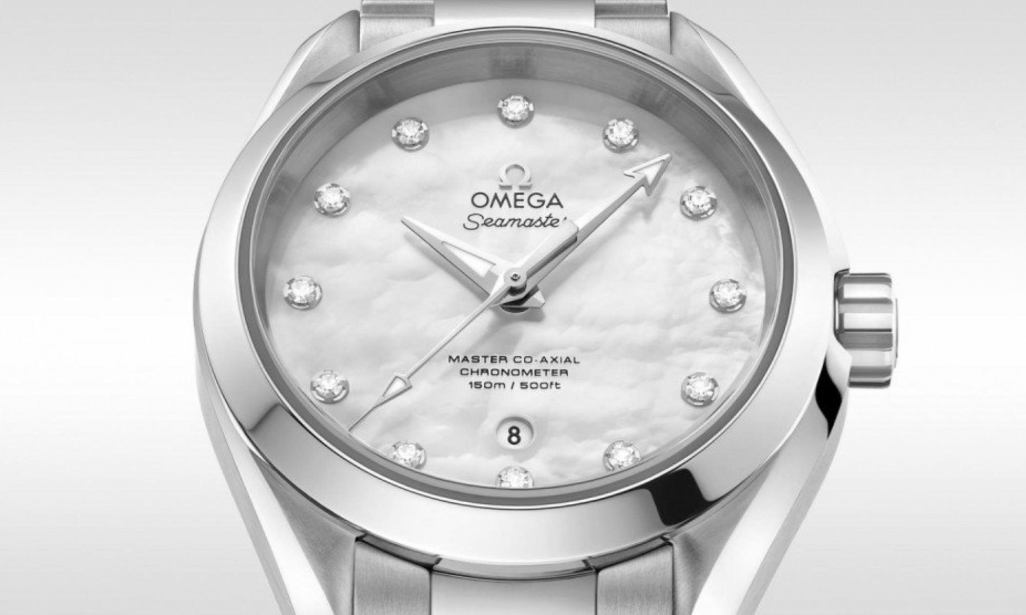 The stainless steel fake watch has a white dial.